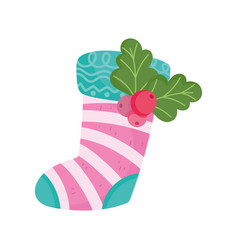 Merry christmas stocking with holly berry vector