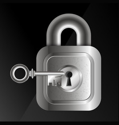 metal lock and key vector image