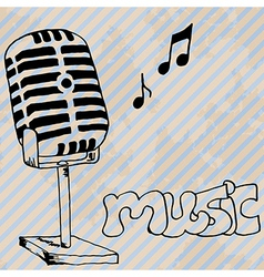 microphone retro hand drawn design card vector image