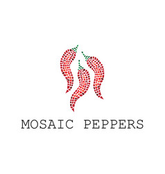 mosaic red peppers vector image