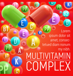 Multivitamin complex with vitamins and minerals vector