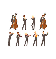Musicians symphonic orchestra and conductor vector