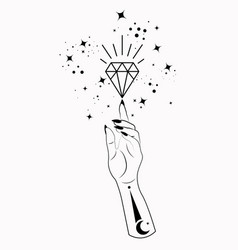 mystical woman hand esoteric magic space crystal vector image