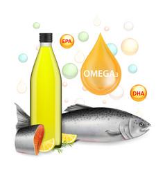 Nutrition omega 3 fish oil realistic vector