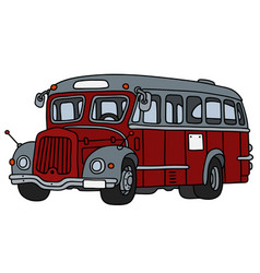 Old red and gray bus vector