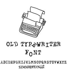 old typewriter font vintage grunge font vector image