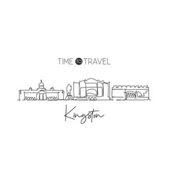 one continuous line drawing kingston city skyline vector image
