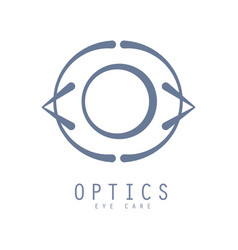 optics eye care logo symbol hand drawn vector image