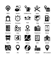 pack of maps and navigation glyph icons 2 vector image