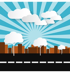 Paper Abstract Retro City with Buildings Trees Su vector image