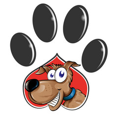 paw print with dog cartoon isolated on white vector image
