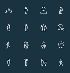People icons line style set with bags contact vector