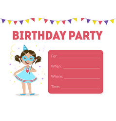 Pink birthday invitation with painted girl cartoon vector