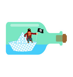 Pirate on paper boat in bottle vector
