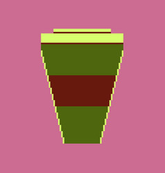 pixel icon in flat style coffee to go vector image