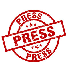 Press round red grunge stamp vector