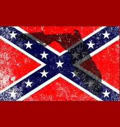 Rebel civil war flag with florida map vector