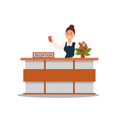 reception of hotel smiling woman standing behind vector image