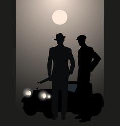 retro style men silhouettes wearing hat and cap vector image