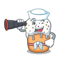 Sailor with binocular easter cake mascot cartoon vector