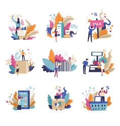 sale and promotions in shop isolated set vector image