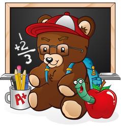school student teddy bear cartoon vector image