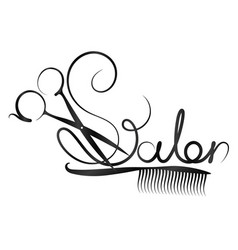 Scissors and beauty salon inscription vector