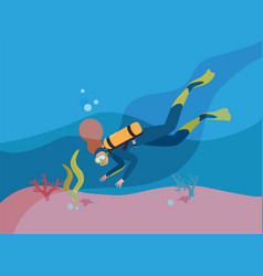 Scuba diver in wetsuit with oxygen cylinder flat vector