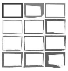 set grunge black frames on a white background vector image