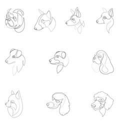 Set of hand drawn line art of dog vector