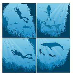Set scuba divers snorkeling flat vector