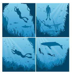 set scuba divers snorkeling flat vector image