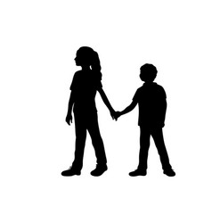 silhouettes girl older sister guides boy vector image