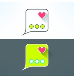 Simple chat icon with heart in modern flat vector