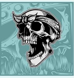 skull wearing bandana hand drawing vector image