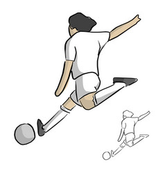 sooccer player shooting sketch vector image