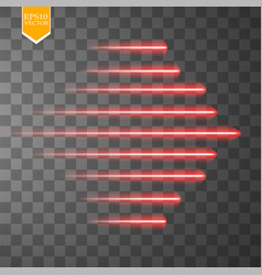 Speed glow red neon lines isolated set of motion vector