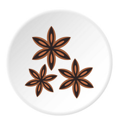 Star anise spice icon circle vector