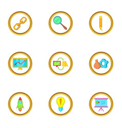 startup icons set cartoon style vector image