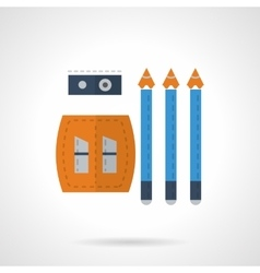 Stationery icon Pencils and sharpener flat vector image