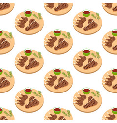 steak meat on board seamless pattern vector image