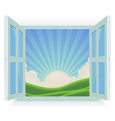 summer landscape outside the window vector image