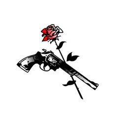 Tattoo pistol revolver and roses death and love vector