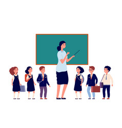 teacher and students elementary school pupils vector image