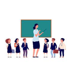Teacher and students elementary school pupils vector