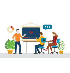 Team discuss video marketing together for business vector