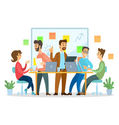 Teamwork business meeting office workers vector