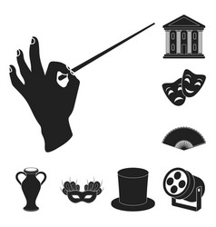 Theatrical art black icons in set collection for vector