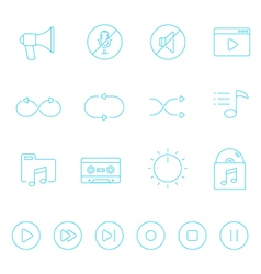 Thin lines icon set - audio controller vector image