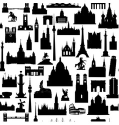 Travel world landmarks tile pattern travel sight vector